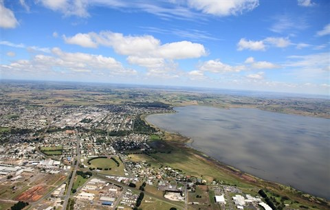 Aerial view of Lake Colac