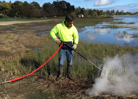 Steam weed control demonstration at Lake Colac web.jpg