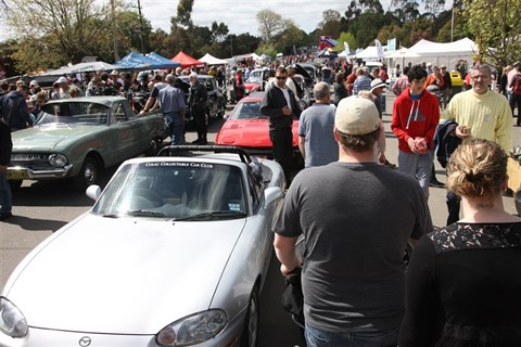 Crowd with cars