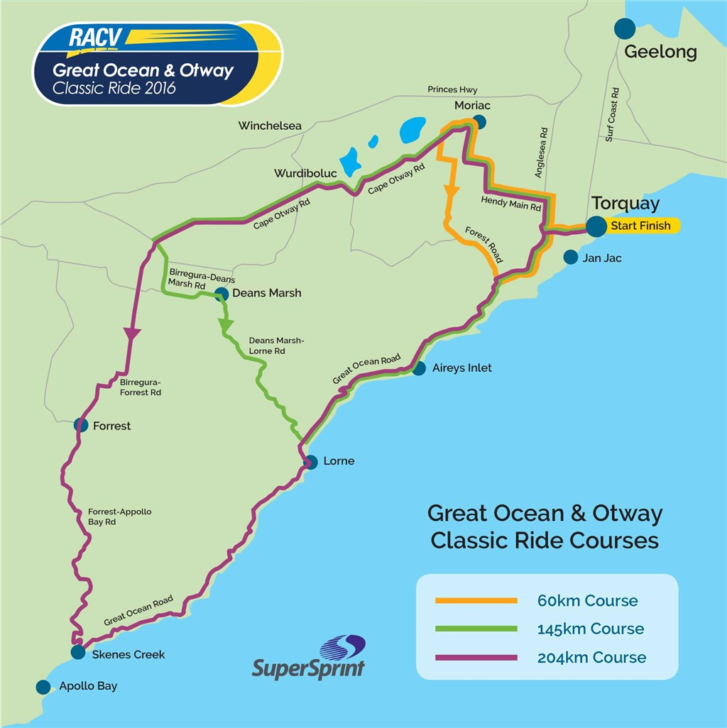 Great Ocean and Otway Classic - Ride Courses