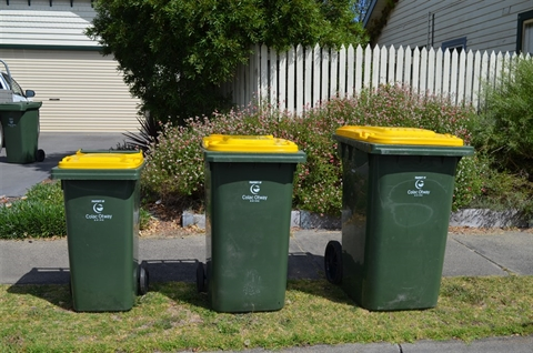 Recycling bins come in three sizes